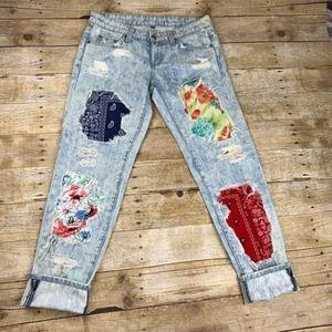 LF Carmar Bleached Denim Floral Distressed Jeans